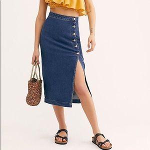 Free People Open Slit Midi Skirt